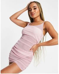 South Beach Платье На Бретельках Из Эластичной Сеточки Со Сборками По Бокам -розовый Цвет