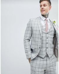 River Island Enge, grau karierte Hochzeit-Anzugsjacke