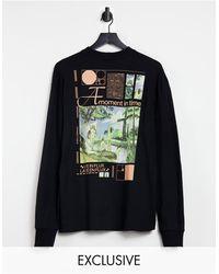 Collusion Unisex - T-shirt oversize a maniche lunghe nera con stampa - Nero