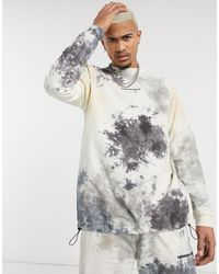 Mennace Co-ord Woven Tie Dye Sweatshirt - Black