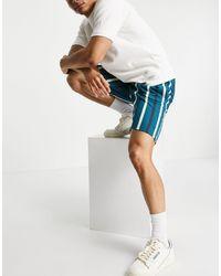 Threadbare – Gestreifte Shorts - Blau