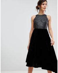 Coast Delores Velvet Pleated Asymmetric Dress - Black