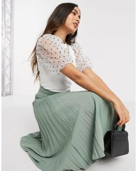River Island Polka Dot Organza Sleeve Knit Top - White