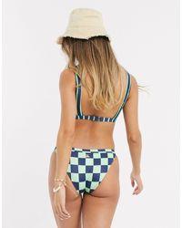 Quiksilver Slip bikini con logo verde a quadri