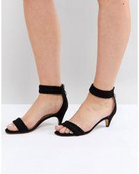 Lost Ink | Black Ruched Kitten Heel Sandals | Lyst