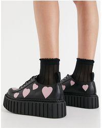 LAMODA Chaussures à lacets style creeper avec semelle chunky et motif cœurs roses - Noir