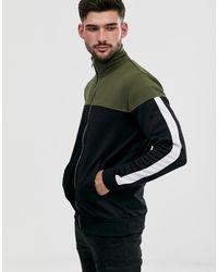 Only & Sons Sweater Met Rits En Kleurvlakken - Zwart