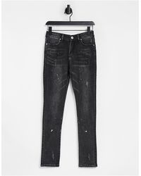 Good For Nothing Skinny Jeans With Paint Splatter - Black