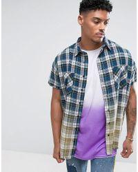 Jaded London Chemise oversize sans manches à carreaux effet dip-dye - Bleu