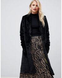 Helene Berman Suki Faux Fur Collarless Coat - Black
