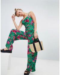 Bershka - Floral Printed Jumpsuit In Green - Lyst
