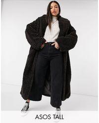 ASOS Коричневое Удлиненное Пальто Макси Из Искусственного Меха На Высокий Рост - Черный