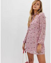 Boohoo Robe droite à nœud lavallière - fleuri - Rose
