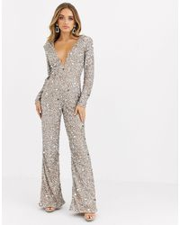 Missguided Peace And Love Embellished Plunge Jumpsuit - Metallic