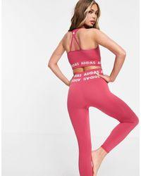 adidas Originals - Розовый Спортивный Бюстгальтер С Логотипом И Легкой Степенью Поддержки Adidas Training Aeroknit-розовый Цвет - Lyst