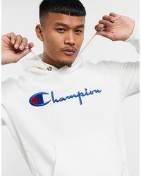 Champion Reverse Weave - Felpa con cappuccio e logo grande bianca - Bianco