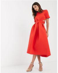 ASOS Красное Приталенное Платье Миди С Вырезами И Поясом - Красный