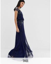 Amelia Rose Vestido largo azul marino con manga japonesa y adornos barrocos