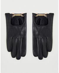 ASOS Leren Handschoenen Met Gouden Details En Touchscreen In Zwart