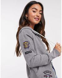 Superdry Willow Badged Zip Hoodie - Grey