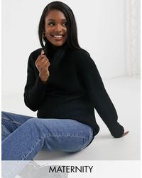 New Look Longline Volume Sleeve Slouchy Roll Neck Sweater - Black