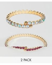 ASOS - Pack Of 2 Bracelets With Colored Crystals In Gold - Lyst