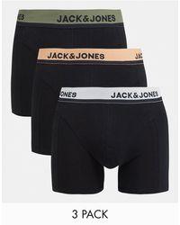 Jack & Jones Set Van 3 Boxershorts Met Gekleurde Tailleband - Zwart