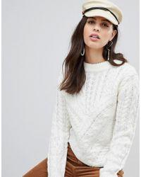Liquorish - Round Neck Asymmetric Cable Knit Sweater - Lyst