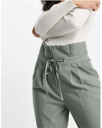 Y.A.S Slouchy Tailored Trousers With Paperbag Waist - Green