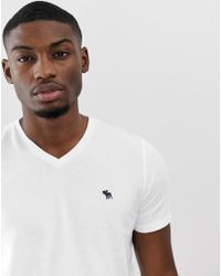 Abercrombie & Fitch Icon Logo V-neck T-shirt In White
