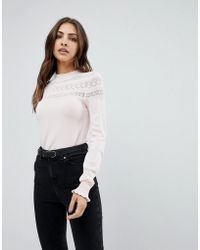 Warehouse Pointelle High Neck Sweater - Pink