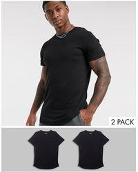 Jack & Jones Originals 2 Pack Curved Hem T-shirt - Black