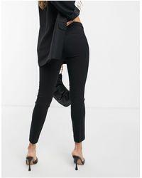 Mango Slim Leg Tailored Cigarette Pants - Black