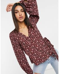 & Other Stories Long Sleeve Wrap Blouse - Red