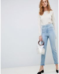 ASOS - Farleigh High Waist Slim Mom Jeans In Light Blue - Lyst