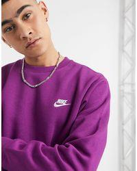 Nike Sudadera violeta con cuello redondo club - Morado