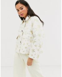 Sister Jane Trucker Jacket With Contrast Leopard Lining In Gold Star Print - Natural