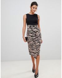 Closet 2 In 1 Sleeveless Pencil Dress With Tiger Print Skirt - Black