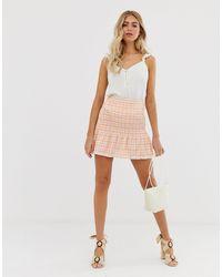 ASOS Mini-jupe à carreaux vichy froncée à la taille - Multicolore