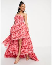 LACE & BEADS Exclusive High Low Tulle Maxi Dress - Red