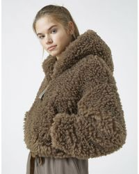 Pull&Bear Коричневая Укороченная Пушистая Куртка Из Искусственного Меха -коричневый Цвет - Многоцветный