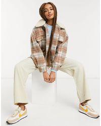 Pull&Bear Коричневая Клетчатая Куртка-рубашка С Воротником «борг» -коричневый Цвет