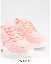 Truffle Collection Wide Fit Chunky Trainers - Pink