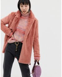 Ichi - Fluffy Faux Fur Coat With Tie Detail - Lyst