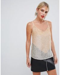 Oasis - Sequin Cami Top With Chevron Detail In Nude - Lyst