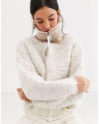 ASOS – Schwerer Pullover aus Wollmischung mit kurzem Reißverschluss - Mehrfarbig