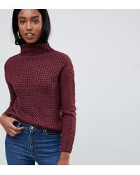 Noisy May Tall - Cable Knit High Neck Jumper - Lyst
