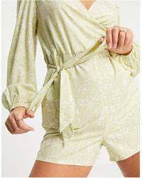 NA-KD Пыльно-зеленый Ромпер С Цветочным Принтом -зеленый Цвет
