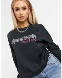 Reebok Черный Короткий Свитшот С Логотипом