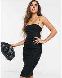 Vesper - Черное Платье Миди На Бретелях С Открытой Спиной -черный - Lyst